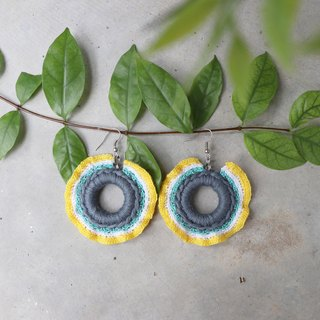 Red Cheeks Earrings Vibrant Style - Yellow-Gray Color | Cute | Sweet | Hot | <pierced or clip-on earrings>