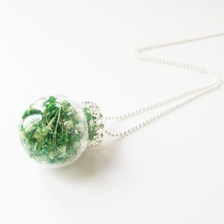 *Rosy Garden*Double green color baby's breath glass ball necklace