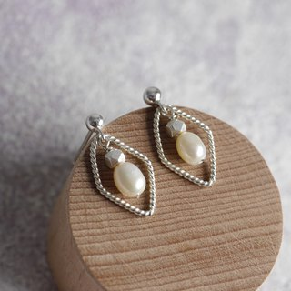 Diamond sterling silver pearl earrings (can be changed)