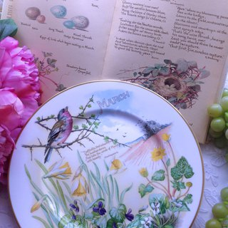 Annie Mad Antiquities British made CAVERSWALL country hand-painted monthly dish artist signature March March stock new birthday gift