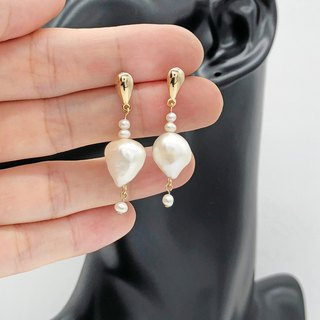 Elegant  Pearl 14k Gold Earrings  【Wedding Earrings】 The one earrings