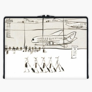 Axis - Custom 3-Sided Zipper Laptop Sleeve - Dinosaur Airlines