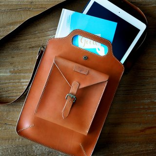 Handmade Vintage Genuine Leather Handbag , iPad / Tablet bag