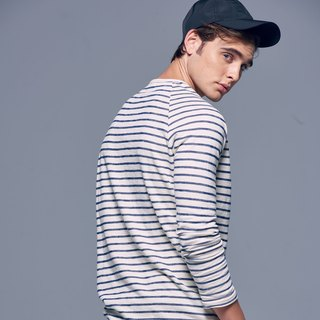 Stone'As Basic Striped long-sleeved Tee In Blue / Blue Sleeves T-shirt