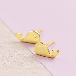 Whale Earring in Brass with 14k yellow gold plating.