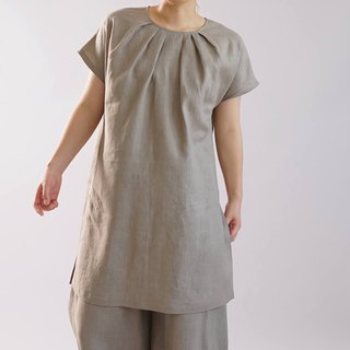 wafu   linen tunic / long length / short sleeve / tops / blouse  t26-9