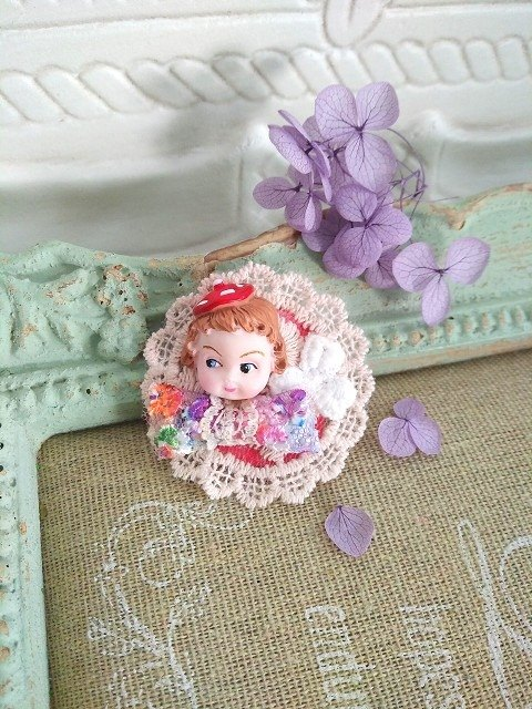 Garohands American antique doll head imported lace ribbon handle pin * Anna paragraph F055 sweet gift