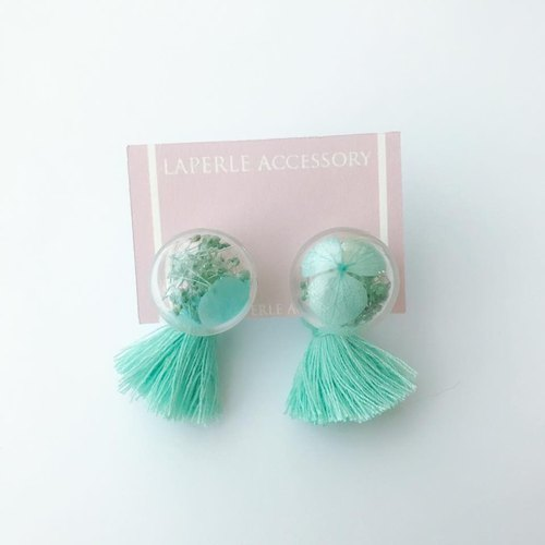 2 Ways Mint Pastel Green tassel Glass Ball Preserved Dry Flower Earrings Birthday gift Bridal shower bridesmaid Christmas