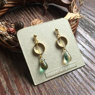 Earrings - Teardrop Series / Round Yellow Green