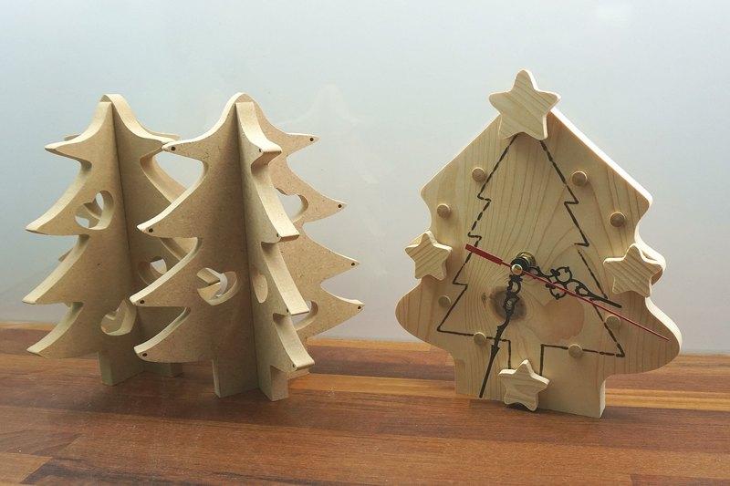 原木耶誕樹時鐘
