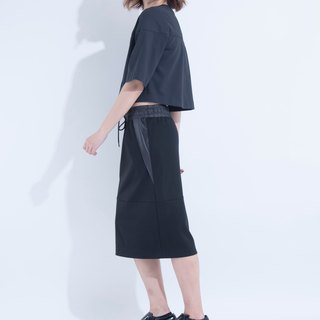 Aine ann / Drawstring Wind Knee Skirt - Black