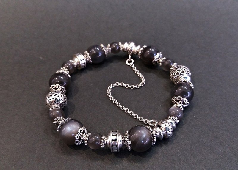 Night Moon - Natural Black Moonstone Sterling Silver Handcuffs
