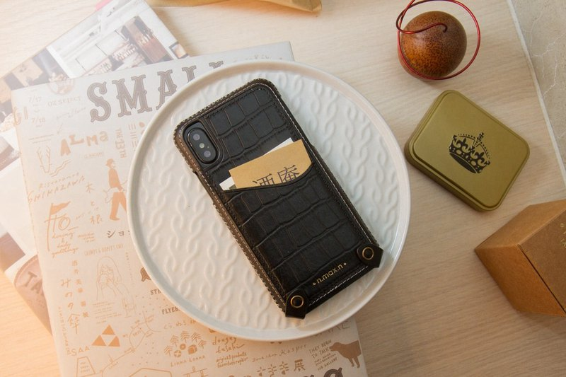 iPhone X / Xs Hybrid Mini Leather Case - Elegant Black