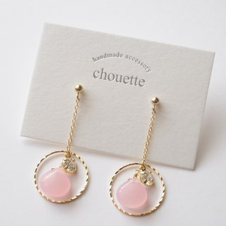 【14kgf】 Quartzite zirconia earrings pink