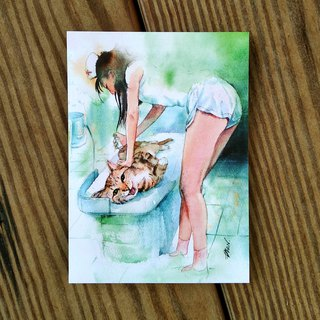 Watercolor painted hair boy series postcard - I want to be sick cat