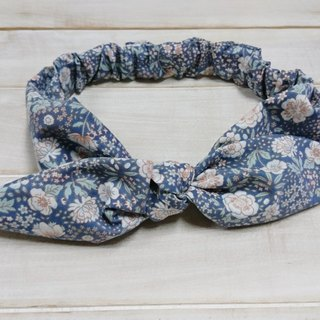 Blue and gray small floral bow headband