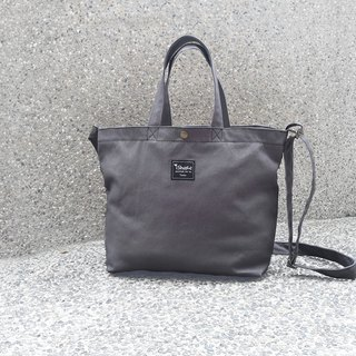 Monochrome A4 Triple Tote Bag - Iron Gray (Hand Shoulder Shoulder Tutorial/Book/Postman Bag)