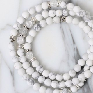 (Special order upgrade to join the white moonstone) _ white white natural ore three chain rosary