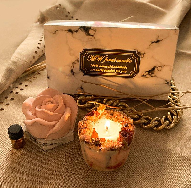 玫瑰禮盒/乾燥花蠟燭/玫瑰花擴香擺飾/交換禮物/粉紅有現貨/