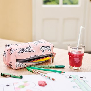 Petit Monkey, the Netherlands - environmentally friendly pink white tiger pencil case / storage bag