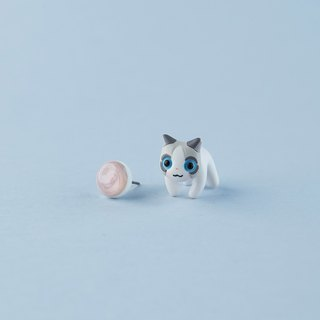 Ragamuffin Cat - Polymer Clay Earrings, Handmade&Handpaited Catlover Gift