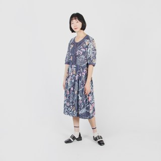 [Egg plant ancient] 绮幻花旋印花 cotton vintage dress