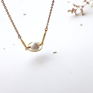 Brass Necklace | White Turquoise | Universe | Planet |