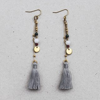 Freedom Bohemian Gray Tassel Brass Earrings - 14K Gold Filled Hooks / Clip-Ons