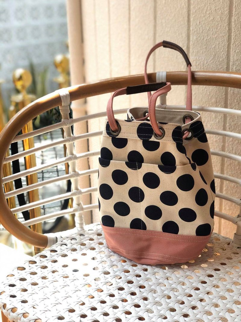 Mini Pink Polka Dot Canvas Bucket Bag with strap /Leather Handles /Daily use