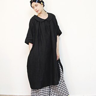 Round neck piece, open back, tie belt, A-line cotton and linen long dress, dress (black)