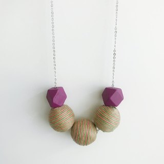 Purple Green Wooden Ball Necklace Birthday Gift Bridesmaid Gift Bridal Shower