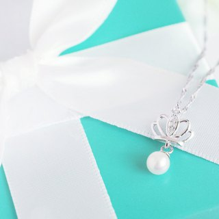 Belle blossoming pearl crown 925 silver enamel chain