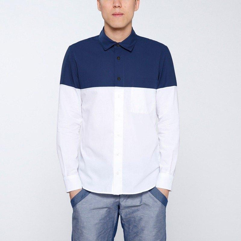 【換季特賣】強撚拼接長袖襯衫-藍白