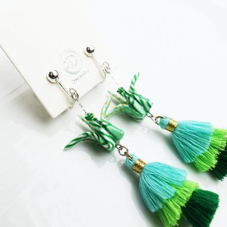 Origami Crane Tassel Earrings