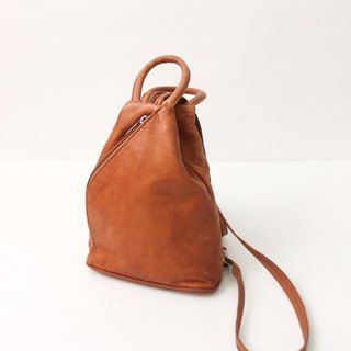 Vintage Genuine Leather Camel Cute Backpack European Antique Bag European Vintage Bag
