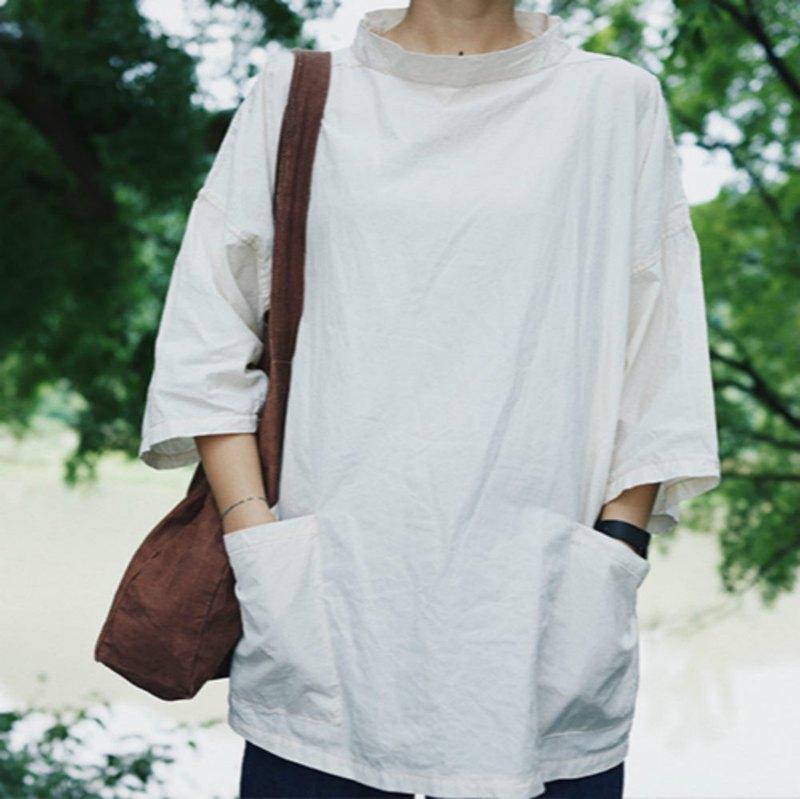 豆腐白色 Fisherman Smock 漁夫罩衣 七分袖夏日挺括 短袖寬鬆T恤