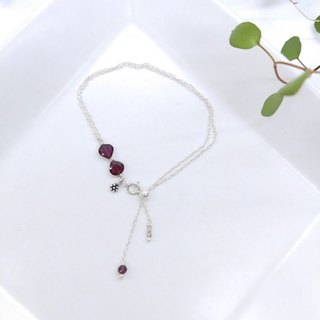wristband. Red Garnet 925 Silver Double Design Bracelet