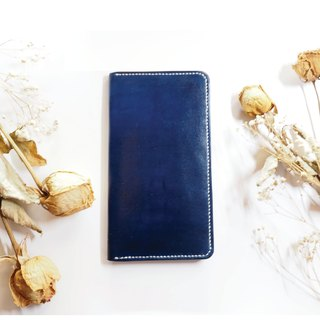 Leather Long Clip Card Holder Business Card Holder Dark Blue