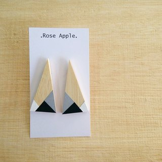Triangular Wooden Earrings No.9
