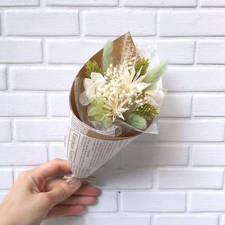 Eight-color party bouquet - grass green dry mixed with flowers