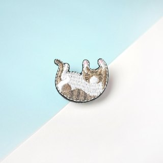 Linen Cat Kitten Embroidery Pin brooch