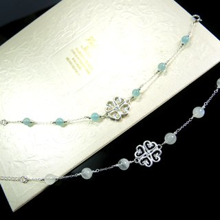 """Light your heart up"" heart flower 925 silver sea water sapphire texture design bracelet"
