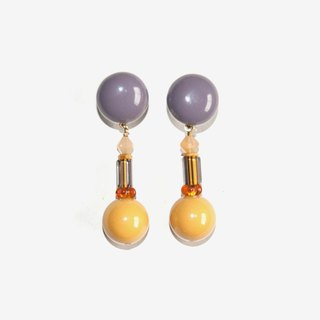 Lavender Gray and Mustard Yellow beads Earrings