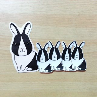 Black and White Dodge Rabbit Stickers