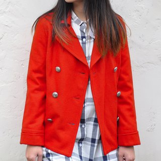 Double breasted Peacoat with Large Sharp Lapels hip Length Short -Bright Red