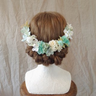 Mint Blue × Baby Blue Hydrangea large head dress