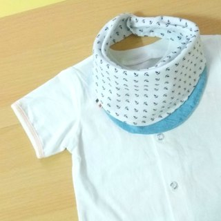 Reversible Bib,Scarf Bib,Bandana Bib,White Anchor/Light Blue Denim,Nautical