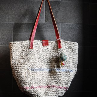 Just good time - Cotton twine hand-crocheted shoulder bag