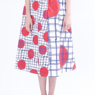 ZIZTAR red and white dots and lines Skirt