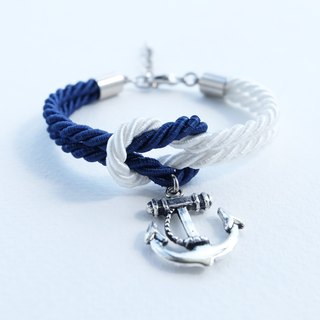 Navy/White knot rope bracelet with anchor charm